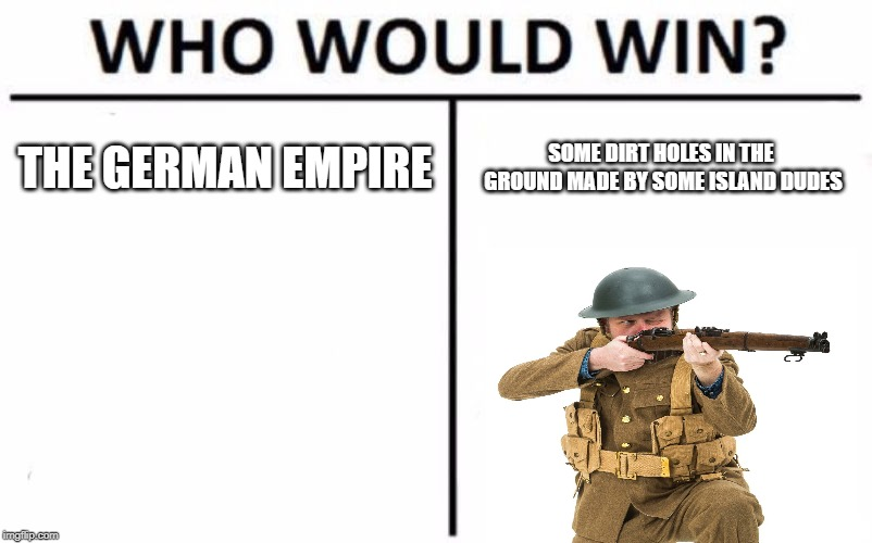 Who Would Win? Meme | THE GERMAN EMPIRE SOME DIRT HOLES IN THE GROUND MADE BY SOME ISLAND DUDES | image tagged in memes,who would win | made w/ Imgflip meme maker