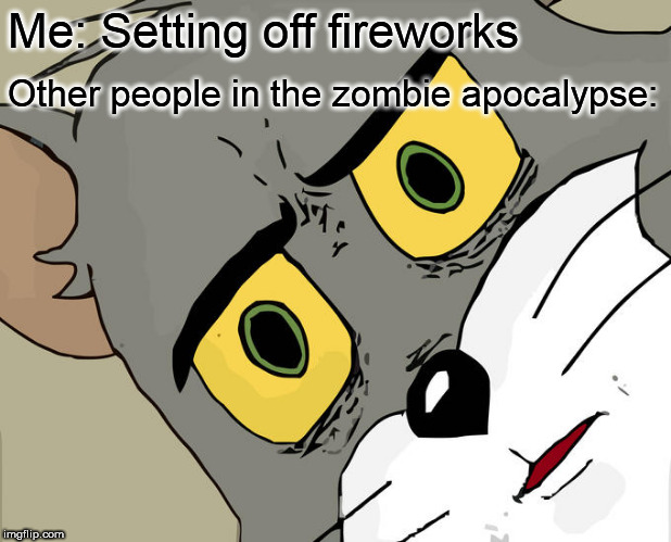 Unsettled Tom | Me: Setting off fireworks Other people in the zombie apocalypse: | image tagged in memes,unsettled tom,fireworks,zombie apocalypse | made w/ Imgflip meme maker