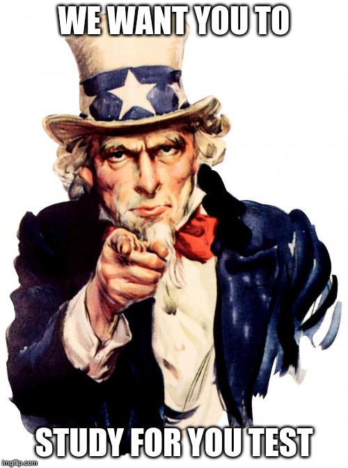 Uncle Sam Meme | WE WANT YOU TO STUDY FOR YOU TEST | image tagged in memes,uncle sam | made w/ Imgflip meme maker