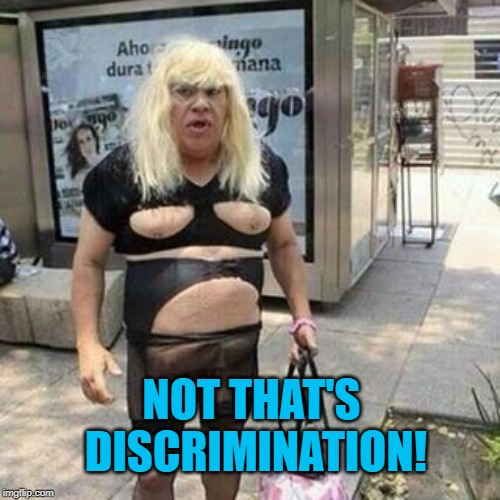Tranny  | NOT THAT'S DISCRIMINATION! | image tagged in tranny | made w/ Imgflip meme maker