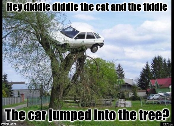 Secure Parking | Hey diddle diddle the cat and the fiddle The car jumped into the tree? | image tagged in memes,secure parking | made w/ Imgflip meme maker