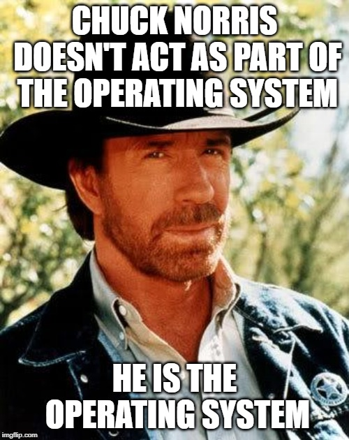 Chuck Norris Meme | CHUCK NORRIS DOESN'T ACT AS PART OF THE OPERATING SYSTEM HE IS THE OPERATING SYSTEM | image tagged in memes,chuck norris | made w/ Imgflip meme maker