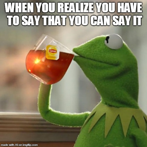 But Thats None Of My Business Meme | WHEN YOU REALIZE YOU HAVE TO SAY THAT YOU CAN SAY IT | image tagged in memes,but thats none of my business,kermit the frog | made w/ Imgflip meme maker