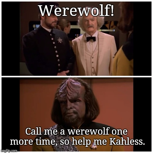 Mark Twain and Worf | Werewolf! Call me a werewolf one more time, so help me Kahless. | image tagged in mark twain and worf,star trek,memes | made w/ Imgflip meme maker