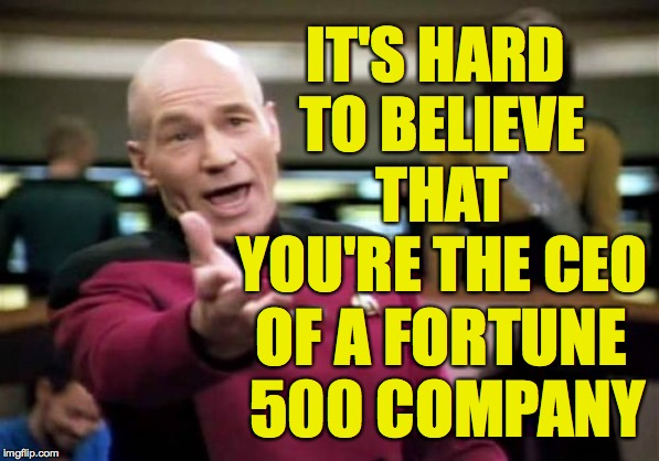 Picard Wtf Meme | IT'S HARD TO BELIEVE THAT YOU'RE THE CEO OF A FORTUNE 500 COMPANY | image tagged in memes,picard wtf | made w/ Imgflip meme maker