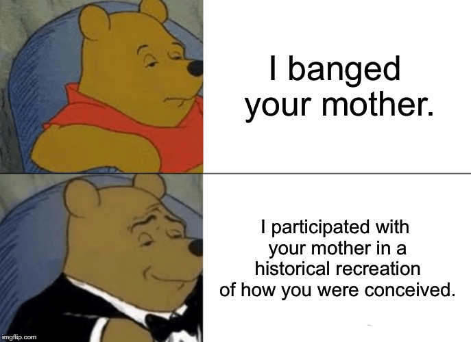 I banged your mother and wished her Happy Mother's Day | I banged your mother. I participated with your mother in a historical recreation of how you were conceived. | image tagged in memes,tuxedo winnie the pooh,mothers day,bang,your mom,history | made w/ Imgflip meme maker