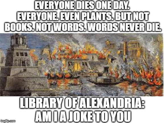 Words never die... | EVERYONE DIES ONE DAY. EVERYONE. EVEN PLANTS. BUT NOT BOOKS. NOT WORDS. WORDS NEVER DIE. LIBRARY OF ALEXANDRIA: AM I A JOKE TO YOU | image tagged in history,historical meme,memes,funny memes,books,fire | made w/ Imgflip meme maker