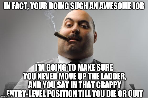Scumbag Boss Meme | IN FACT, YOUR DOING SUCH AN AWESOME JOB I'M GOING TO MAKE SURE YOU NEVER MOVE UP THE LADDER, AND YOU SAY IN THAT CRAPPY ENTRY-LEVEL POSITION | image tagged in memes,scumbag boss | made w/ Imgflip meme maker
