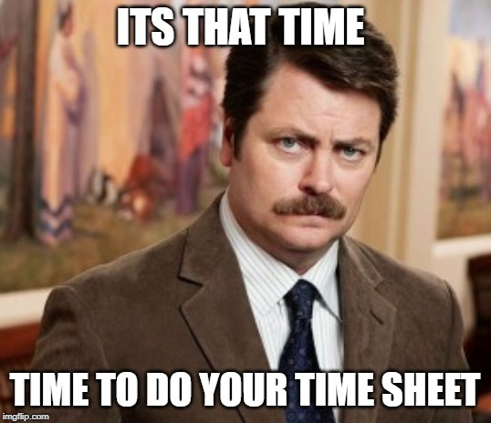 Ron Swanson | ITS THAT TIME TIME TO DO YOUR TIME SHEET | image tagged in memes,ron swanson | made w/ Imgflip meme maker
