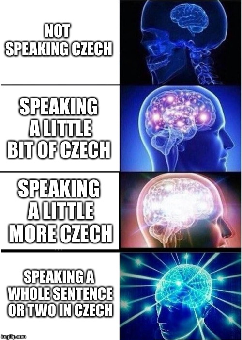 Expanding Brain |  NOT SPEAKING CZECH; SPEAKING A LITTLE BIT OF CZECH; SPEAKING A LITTLE MORE CZECH; SPEAKING A WHOLE SENTENCE OR TWO IN CZECH | image tagged in memes,expanding brain | made w/ Imgflip meme maker