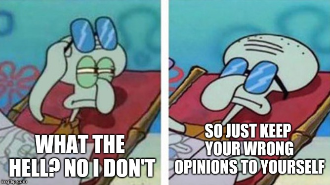 WHAT THE HELL? NO I DON'T SO JUST KEEP YOUR WRONG OPINIONS TO YOURSELF | image tagged in squidward don't care | made w/ Imgflip meme maker