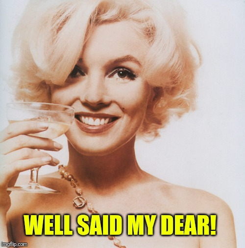 Marilyn Monroe | WELL SAID MY DEAR! | image tagged in marilyn monroe | made w/ Imgflip meme maker