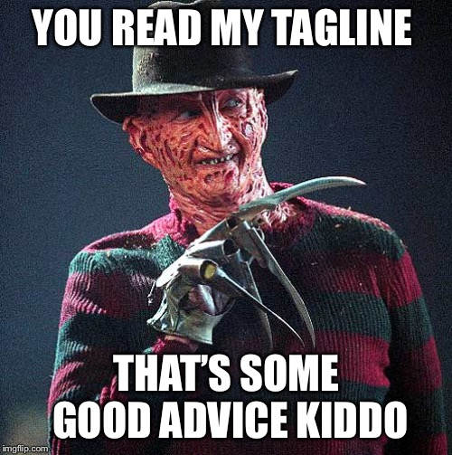Freddy Krueger | YOU READ MY TAGLINE THAT'S SOME GOOD ADVICE KIDDO | image tagged in freddy krueger | made w/ Imgflip meme maker