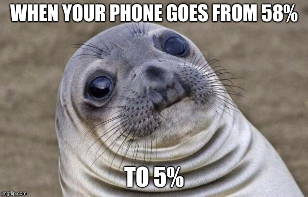 Awkward Moment Sealion | WHEN YOUR PHONE GOES FROM 58% TO 5% | image tagged in memes,awkward moment sealion | made w/ Imgflip meme maker