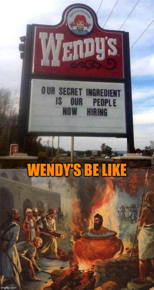 "On the other side of the sign: ""(We take people donations, they must be freshly dead...)"" 
