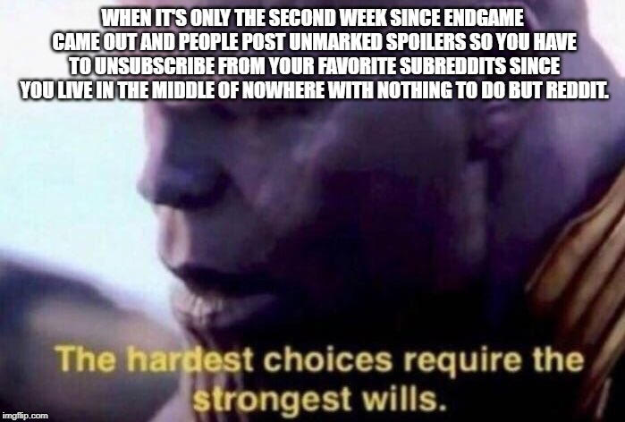 The hardest choices require the strongest wills |  WHEN IT'S ONLY THE SECOND WEEK SINCE ENDGAME CAME OUT AND PEOPLE POST UNMARKED SPOILERS SO YOU HAVE TO UNSUBSCRIBE FROM YOUR FAVORITE SUBREDDITS SINCE YOU LIVE IN THE MIDDLE OF NOWHERE WITH NOTHING TO DO BUT REDDIT. | image tagged in the hardest choices require the strongest wills,memes | made w/ Imgflip meme maker