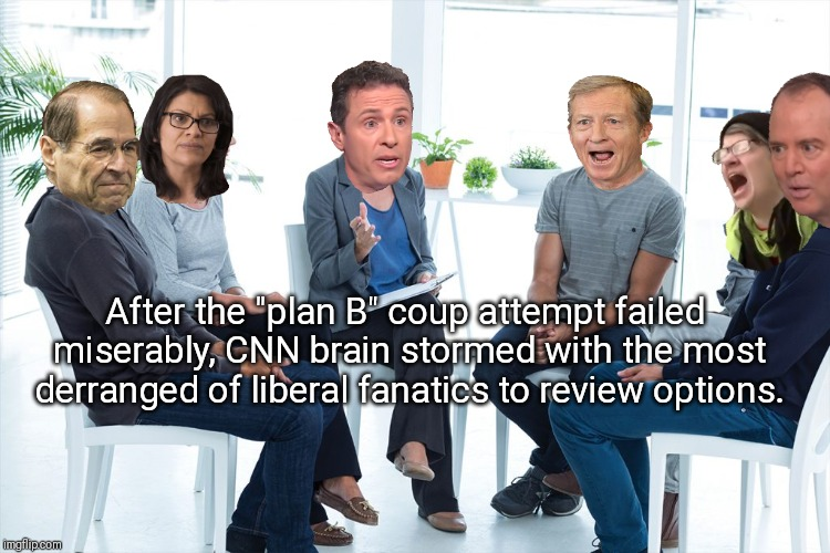 "Chris Coumo assures fanatical liberals, they'll think of something to remove Trump. | After the ""plan B"" coup attempt failed miserably, CNN brain stormed with the most derranged of liberal fanatics to review options. 