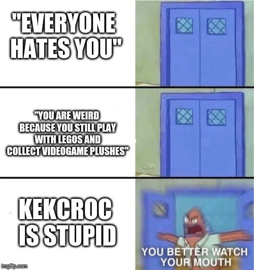 "You better watch your mouth | ""EVERYONE HATES YOU"" KEKCROC IS STUPID ""YOU ARE WEIRD BECAUSE YOU STILL PLAY WITH LEGOS AND COLLECT VIDEOGAME PLUSHES"" 
