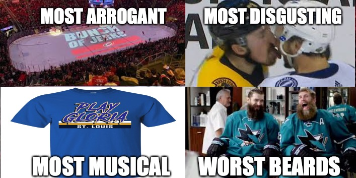 NHL Conference Final Stereotypes | MOST ARROGANT           MOST DISGUSTING MOST MUSICAL       WORST BEARDS | image tagged in nhl,memes,funny memes,hockey,hurricanes,sharks | made w/ Imgflip meme maker
