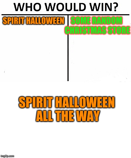 I LOVE SPIRIT HALLOWEEN TO MUCH | SPIRIT HALLOWEEN SOME RANDOM CHRISTMAS STORE SPIRIT HALLOWEEN ALL THE WAY | image tagged in memes,who would win,halloween | made w/ Imgflip meme maker