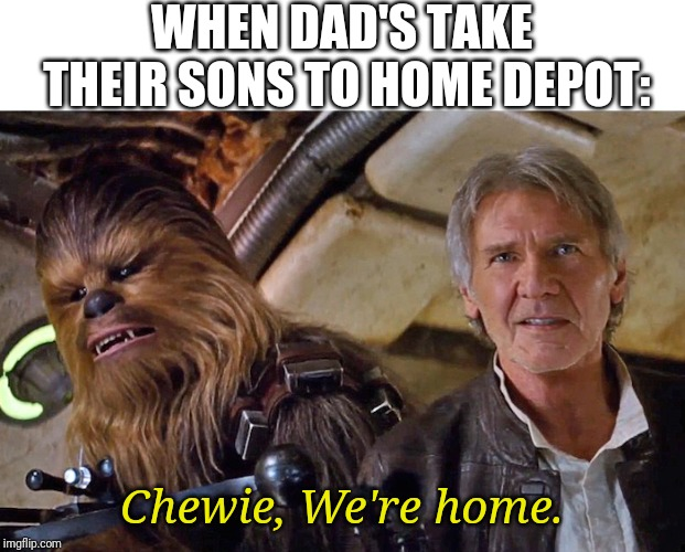 WHEN DAD'S TAKE THEIR SONS TO HOME DEPOT: Chewie, We're home. | image tagged in chewie we're home | made w/ Imgflip meme maker