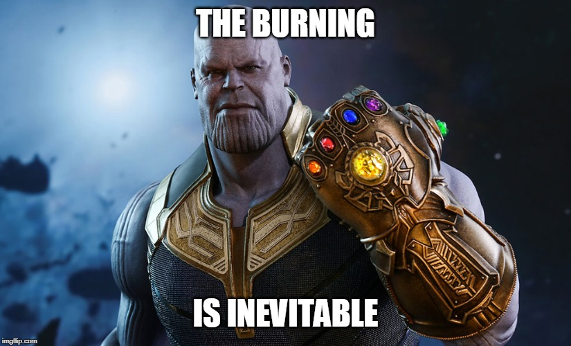 Thanos | THE BURNING IS INEVITABLE | image tagged in thanos | made w/ Imgflip meme maker