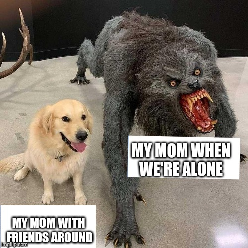 MY MOM WHEN WE'RE ALONE MY MOM WITH FRIENDS AROUND | image tagged in memes,funny,monster dog,mom,friends | made w/ Imgflip meme maker