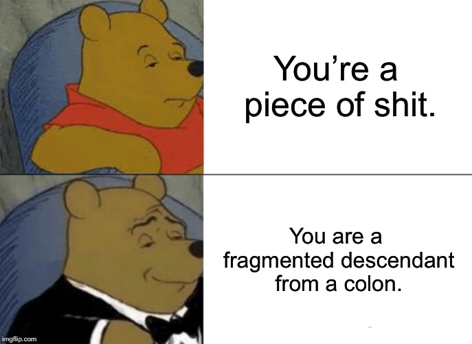 A generational shit | You're a piece of shit. You are a fragmented descendant from a colon. | image tagged in memes,tuxedo winnie the pooh,shit,bathroom humor,crap,insult | made w/ Imgflip meme maker