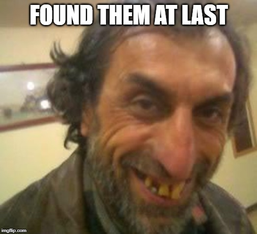 Ugly Guy | FOUND THEM AT LAST | image tagged in ugly guy | made w/ Imgflip meme maker