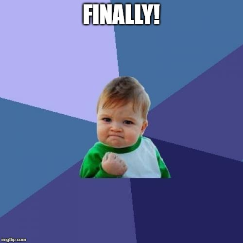 Success Kid Meme | FINALLY! | image tagged in memes,success kid | made w/ Imgflip meme maker