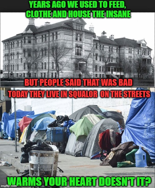 Great solutions are not always great. |  YEARS AGO WE USED TO FEED, CLOTHE AND HOUSE THE INSANE; BUT PEOPLE SAID THAT WAS BAD; TODAY THEY LIVE IN SQUALOR  ON THE STREETS; WARMS YOUR HEART DOESN'T IT? | image tagged in human stupidity,insanity,idiots,stupid liberals,liberal hypocrisy,california | made w/ Imgflip meme maker