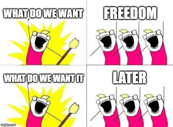 What Do We Want Meme | WHAT DO WE WANT FREEDOM WHAT DO WE WANT IT LATER | image tagged in memes,what do we want | made w/ Imgflip meme maker