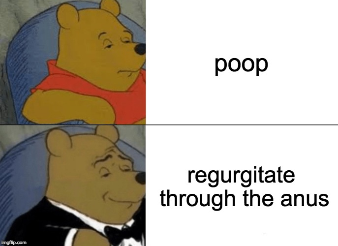 Tuxedo Winnie The Pooh Meme | poop regurgitate through the anus | image tagged in memes,tuxedo winnie the pooh | made w/ Imgflip meme maker