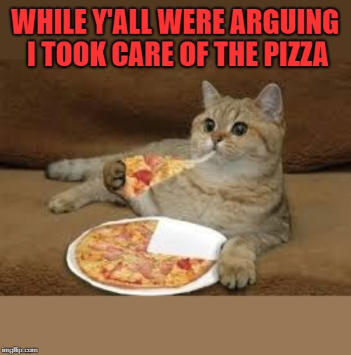 cat eats pizza | WHILE Y'ALL WERE ARGUING I TOOK CARE OF THE PIZZA | image tagged in cat eats pizza | made w/ Imgflip meme maker