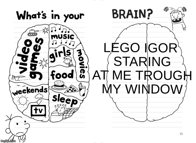 Diary of a wimpy kid brain | LEGO IGOR STARING AT ME TROUGH MY WINDOW | image tagged in diary of a wimpy kid brain | made w/ Imgflip meme maker