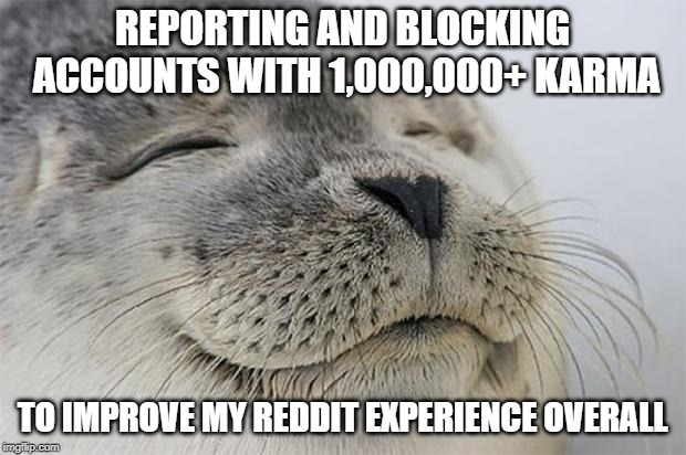 Satisfied Seal | REPORTING AND BLOCKING ACCOUNTS WITH 1,000,000+ KARMA TO IMPROVE MY REDDIT EXPERIENCE OVERALL | image tagged in memes,satisfied seal,AdviceAnimals | made w/ Imgflip meme maker