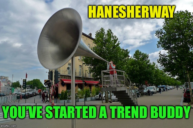 megaphone | HANESHERWAY YOU'VE STARTED A TREND BUDDY | image tagged in megaphone | made w/ Imgflip meme maker