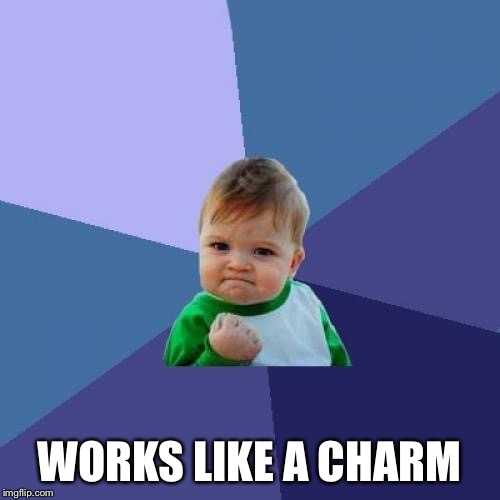 Success Kid Meme | WORKS LIKE A CHARM | image tagged in memes,success kid | made w/ Imgflip meme maker