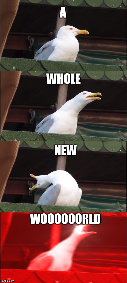 Inhaling Seagull Meme | A WHOLE NEW WOOOOOORLD | image tagged in memes,inhaling seagull | made w/ Imgflip meme maker