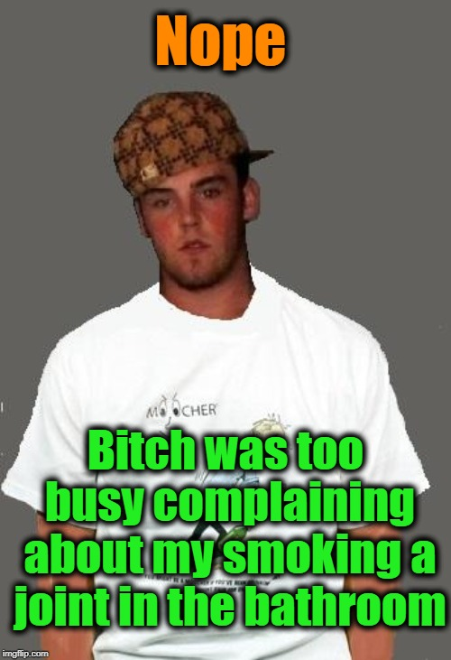 warmer season Scumbag Steve | Nope B**ch was too busy complaining about my smoking a joint in the bathroom | image tagged in warmer season scumbag steve | made w/ Imgflip meme maker