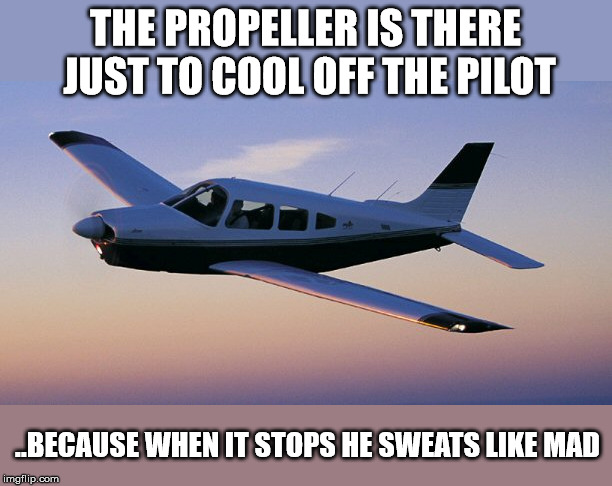many don't know this | THE PROPELLER IS THERE JUST TO COOL OFF THE PILOT ..BECAUSE WHEN IT STOPS HE SWEATS LIKE MAD | image tagged in small plane,pilot,cool | made w/ Imgflip meme maker