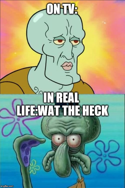 Squidward Meme | ON TV: IN REAL LIFE:WAT THE HECK | image tagged in memes,squidward | made w/ Imgflip meme maker