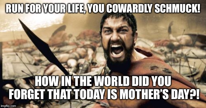 Forgot About Mothers Day | RUN FOR YOUR LIFE, YOU COWARDLY SCHMUCK! HOW IN THE WORLD DID YOU FORGET THAT TODAY IS MOTHER'S DAY?! | image tagged in memes,sparta leonidas,mothers day | made w/ Imgflip meme maker