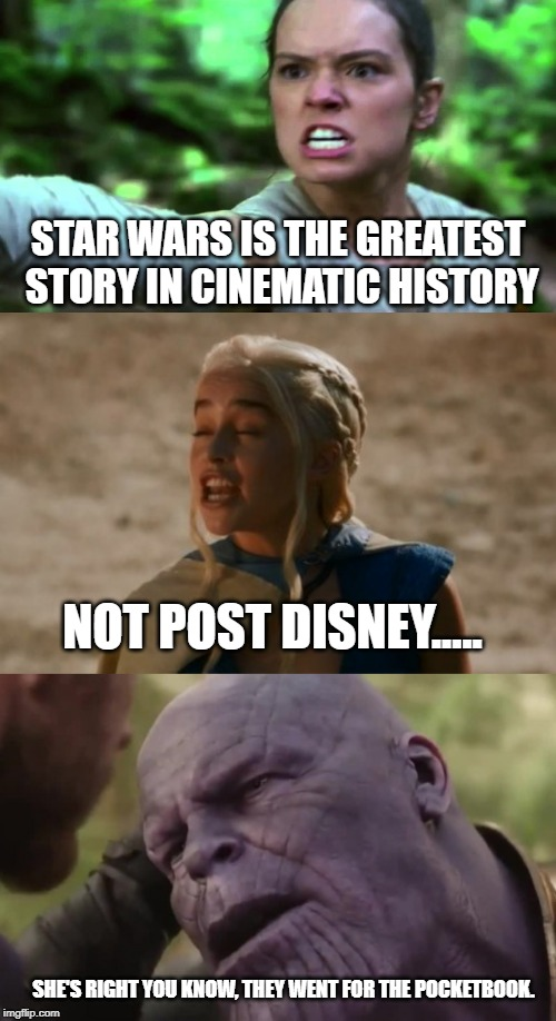 STAR WARS IS THE GREATEST STORY IN CINEMATIC HISTORY NOT POST DISNEY..... SHE'S RIGHT YOU KNOW, THEY WENT FOR THE POCKETBOOK. | image tagged in dany | made w/ Imgflip meme maker