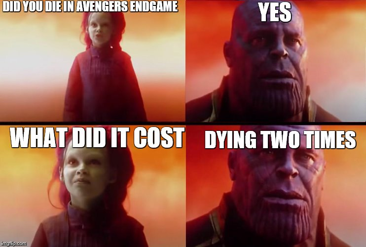 a bit of spoilers for people who didn't watch avengers endgame:) | DID YOU DIE IN AVENGERS ENDGAME YES WHAT DID IT COST DYING TWO TIMES | image tagged in thanos what did it cost,died,twice,avengers endgame,but why tho | made w/ Imgflip meme maker