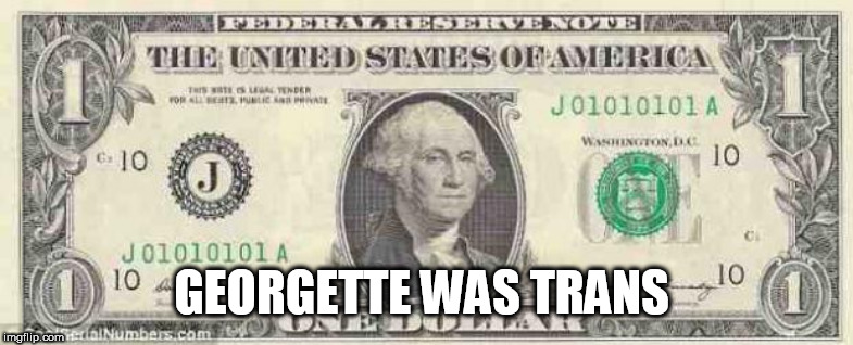 dollar | GEORGETTE WAS TRANS | image tagged in dollar | made w/ Imgflip meme maker