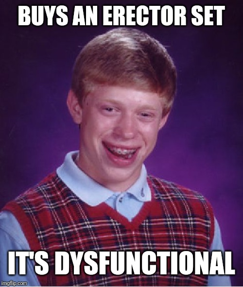 Bad Luck Brian Meme | BUYS AN ERECTOR SET IT'S DYSFUNCTIONAL | image tagged in memes,bad luck brian | made w/ Imgflip meme maker