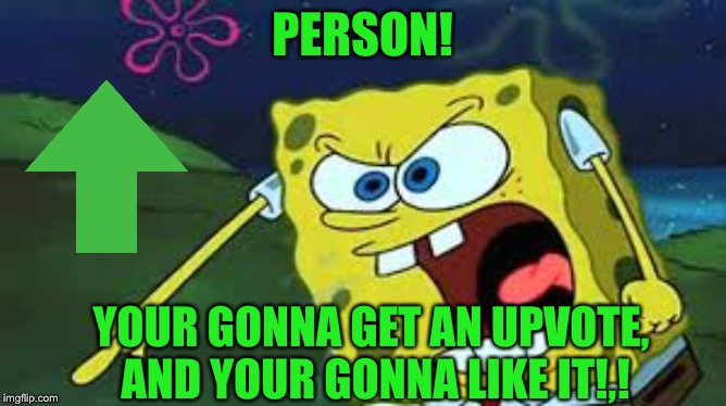 PERSON! YOUR GONNA GET AN UPVOTE, AND YOUR GONNA LIKE IT!,! | made w/ Imgflip meme maker