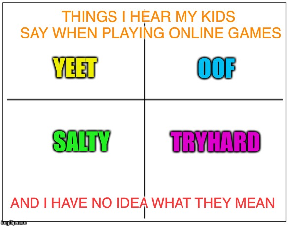 4 Square Grid | YEET OOF SALTY TRYHARD THINGS I HEAR MY KIDS SAY WHEN PLAYING ONLINE GAMES AND I HAVE NO IDEA WHAT THEY MEAN | image tagged in 4 square grid | made w/ Imgflip meme maker