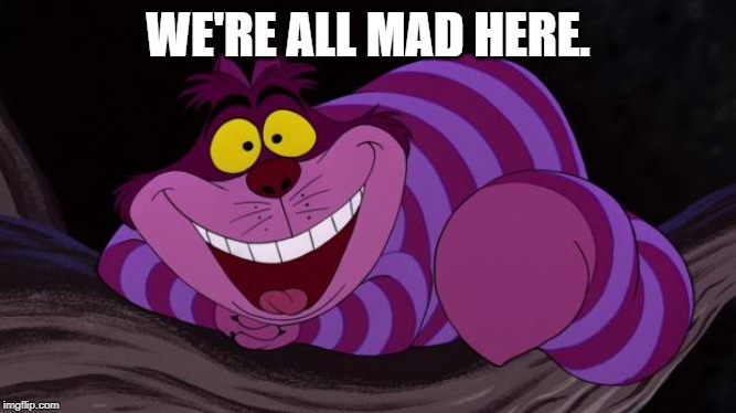 Cheshire Cat | WE'RE ALL MAD HERE. | image tagged in cheshire cat | made w/ Imgflip meme maker